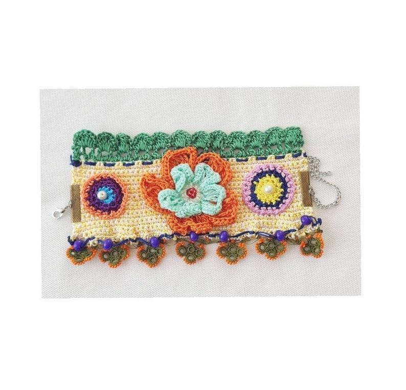Wristband orange Beadeds boho Bracelet green Raziyeshandmade Needlework Women Adjustable Crochet Turkish oya Jewelry Friendship Handmade