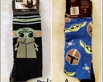 Star Wars the Mandalorian Baby Yoda Frog Stripe Adult Unisex Crew Socks Shoe Size 6.5-12