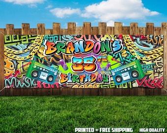 Hip Hop Birthday Banner, Graffiti Banner, Printed and Shipped
