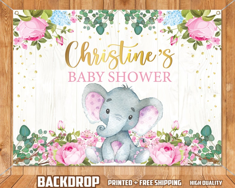 Elephant Pink Baby Shower Printed and Shipped