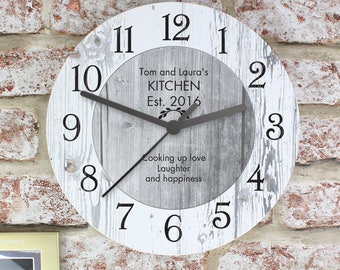 Personalised Time Spent Shabby Chic Large Wooden Clock