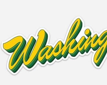 Washington State Green & Yellow Bumper Sticker