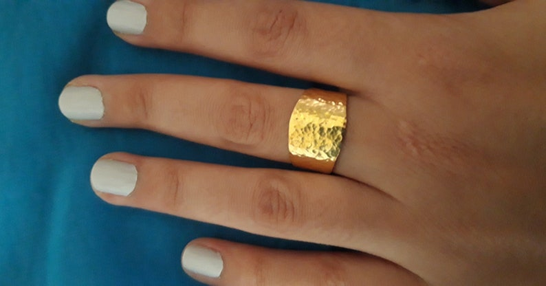 Simple comfort fit band Handmade wide band ring Unisex wedding ring Hammered gold plated ring