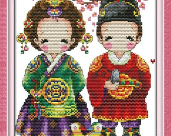 Cross Stitch Pattern Chart SODA Cross Stitch Pattern Leaflet SO-G177 Happy Camper Authentic Korean Cross Stitch Design Color Printed on Coated Paper