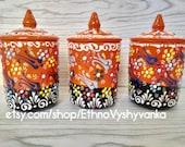 Handmade ceramic canister set, Ottoman spice jar ceramic, Pottery canister set, Tall lidded jar, Ceramic cookie Jar, Pottery garlic keeper