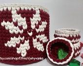 Nordic Snowflake handwoven basket, Round Knitted storage basket, Cotton crochet baskets, knitted basket, christmas tree basket, nursery box