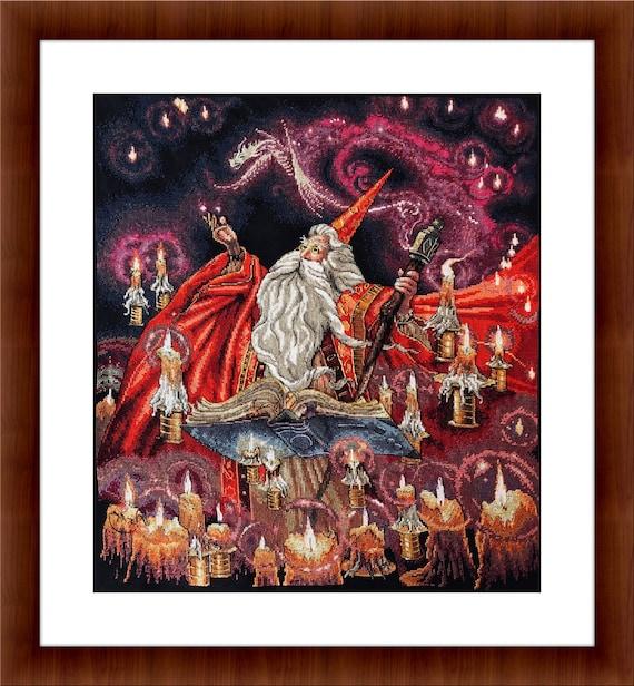 Scarlet Wizard Cross Stitch PDF pattern Fantasy Cross stitch | Etsy