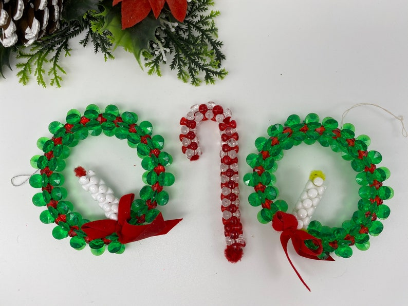Vintage Beaded Christmas Ornaments Handmade Ornament set GIft Exchange Wreaths with candles Candy cane