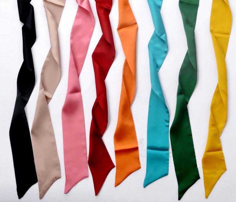 1940s Hair Snoods- Buy, Knit, Crochet or Sew a Snood     Satin Solid Color Hair Scarf Silky Ponytail Scarf Ribbon Braid scarf Headband Hair Bun Scarf Skinny Head Scarf 4 for 12 $6.00 AT vintagedancer.com