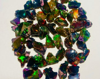 Black Opal rough, AAAA Grade Natural Black Opal rough lot, Natural Ethiopian Opal rough gemstone, Black Welo Fire Opal, Natural Black Opal