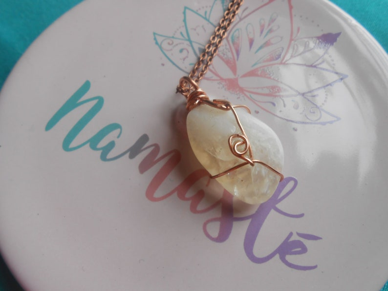 Tumbled pendant with copper wire wrap and chain Citrine Crystal