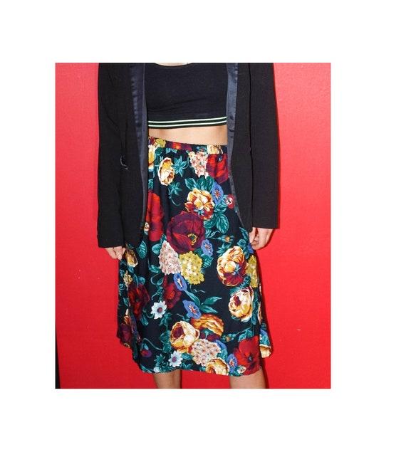 Vintage Skirt floral pattern Print Fashion 90s Chick 1990s Gorgeous Lady Elegant cute dress 100/% cotton peony boho field flowers hippy gipsy