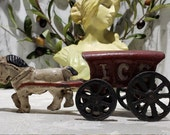 Vintage Cast Iron Horse and quot Ice quot Delivery Wagon quot Ice quot Wagon Toy with One galloping horse