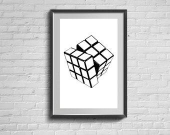 Rubics Cube Print. Scandinavian Poster. Rubik's Wall Art. Modern Home Decor. Living Room Minimalist Picture.