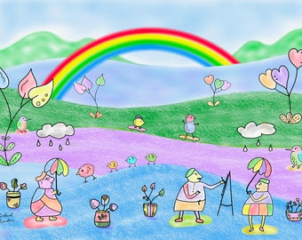 Rainclouds With Rainbow