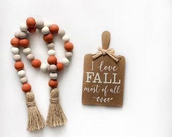 Pumpkin Spice garland-pumpkin garland-pumpkin spice beads-pumpkin decor-fall beads-fall garland