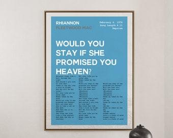 Rhiannon Posters, Fleetwood Mac Poster, Dreams Lyrics, 1975 Song Lyric Print, Music Wall Art, Music Poster, Band Poster, Modern/Retro Poster