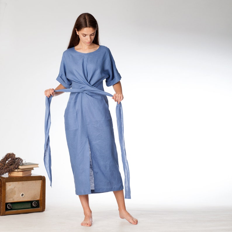 Blue wrap linen dress kimono linen dress vnpVwiqR