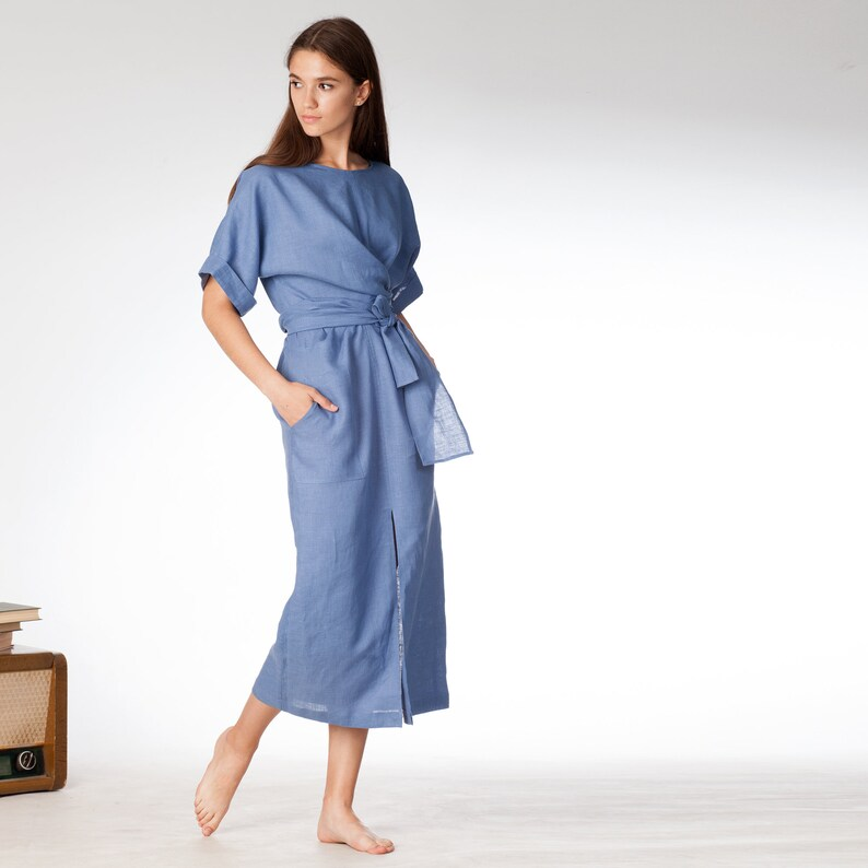 Blue wrap linen dress kimono linen dress OTCO7jUS