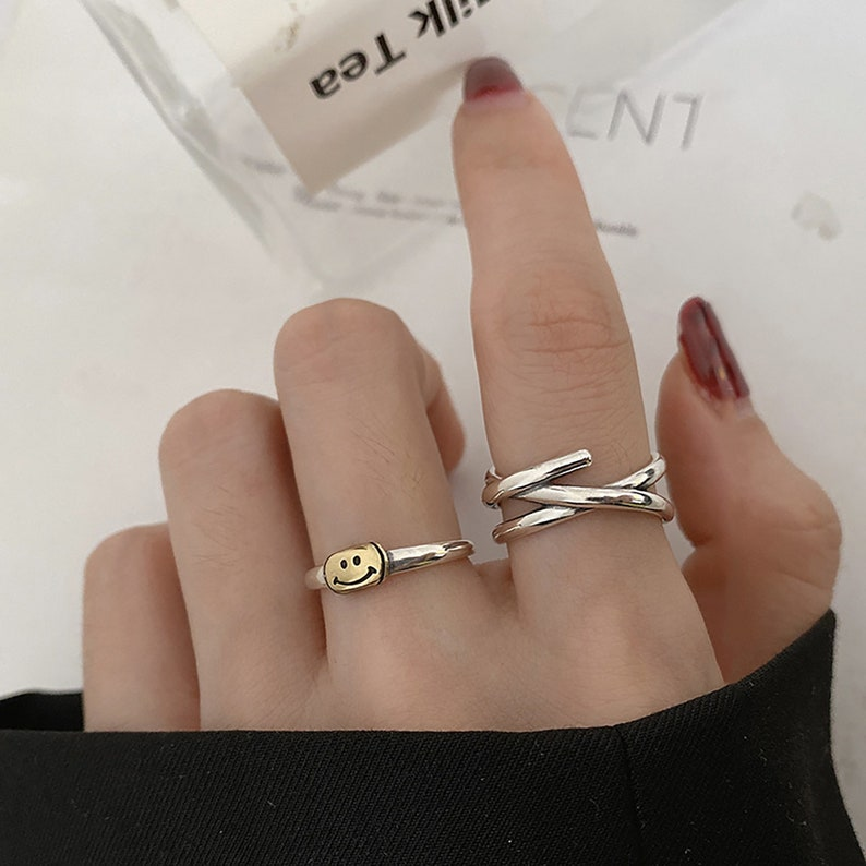 Smile Ring Streetwear Ring Hip Pop Ring Fashion Open Adjustable Ring For Men and Women Lucky Ring Gift For Her. Thin Smiley Face Ring