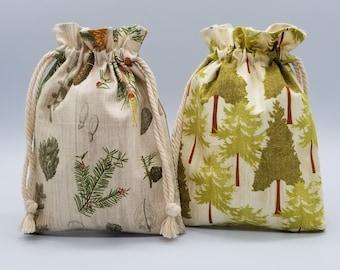 Reusable Drawstring Bag | Pine Tree Cloth Bag | 2-layer Toy bag | Cosmetic bag| Toiletry Bag | Travel bag | Wedding Bag | Texas Made