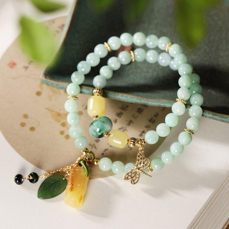 Jadeite bead bracelet with amber green chalcedonyMulti-Gem stacked bracelet24K gold-platedGifts for her jasper jade