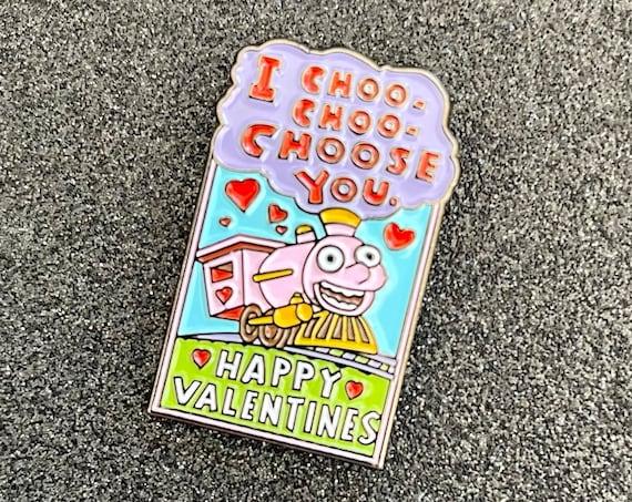 Simpsons I Choo-Choo-Choose You Train Valentine's Day Card Pin Homer Bart 90s