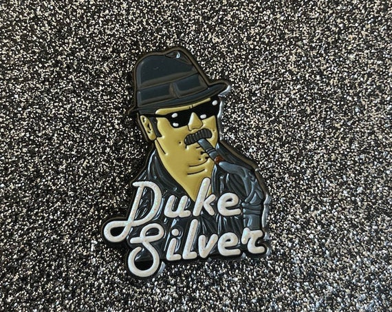 Duke Silver Parks & Rec Pin Ron Swanson Leslie Knope Nick Offerman TV Funny Novelty