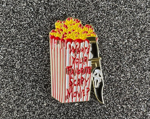 Scream What's Your Favorite Scary Movie Popcorn Knife Ghostface Halloween Pin Wes Craven 90s Nostalgia Skeet Ulrich Billy Loomis VHS