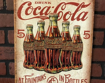 VIntage-Look Rustic Cast Iron Coca-Cola Coke Cash Register Topper Sign Plaque