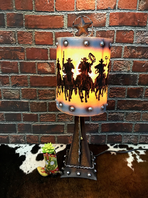 Western Round Up Cowboy Lamp