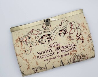 Womens Wallet bifold Leather Marauders map Harry Potter inspired