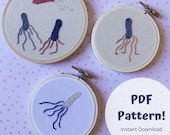 Biology Embroidery Pattern,  Bacteria Science Art Embroidery PDF, Embroidery Pattern PDF, Hand Embroidery Pattern, Embroidery Beginner