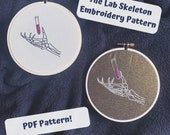 Spooky Science Embroidery Pattern, Skeleton, Lab Biology Embroidery. DIY Embroidery PDF Pattern, Embroidery PDF Pattern, Beginner Embroidery