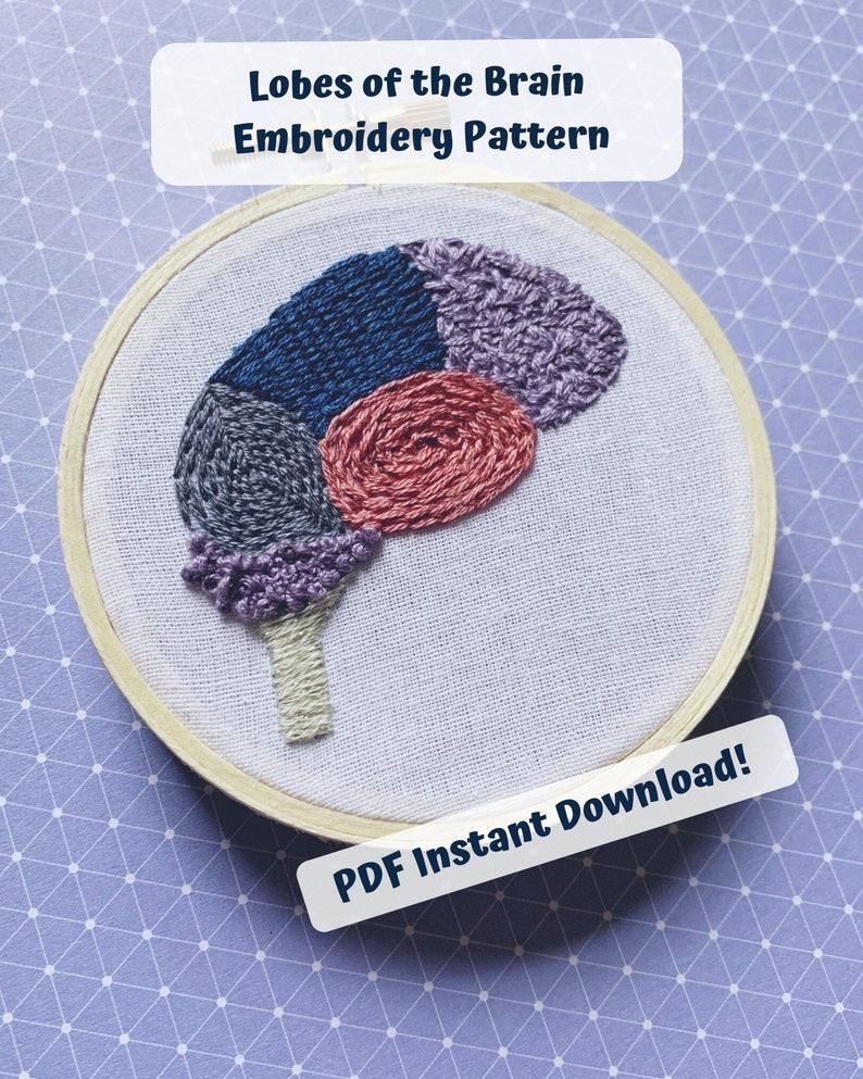 Brain stitch sampler embroidery PDF pattern Beginner image 0