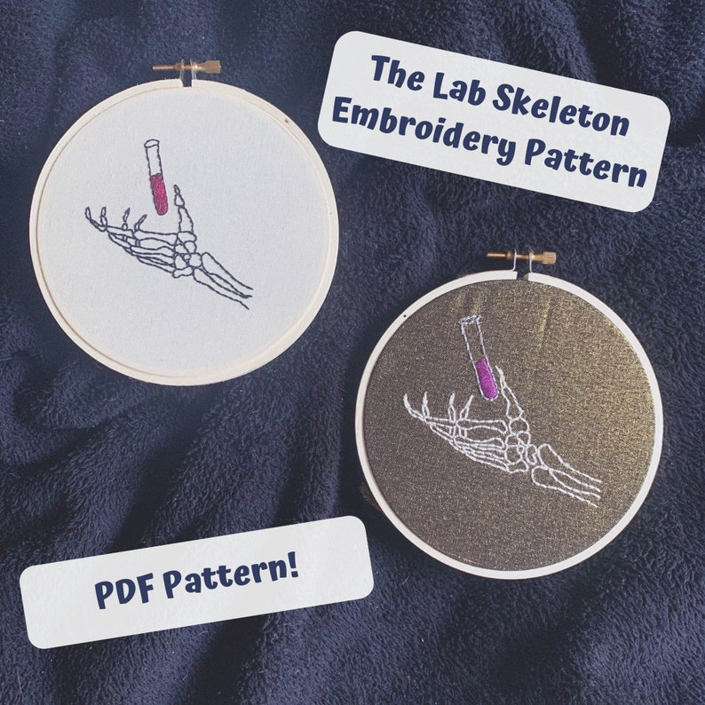 Spooky Science Embroidery Pattern Skeleton Lab Biology image 1