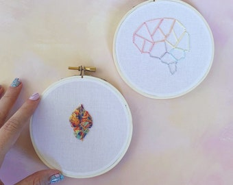 Rainbow Brain Embroidery Hoop, 4 inch, Brainbow, Science Art, Science Embroidery, Nerdy DIY, Biology Embroidery