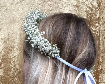 Baby's breath Flower crown Dried flower circlet Boho Flower Crown Flower head garland Rustic floral headpiece Wedding flower crown