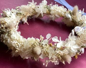Dry flower crown/Wedding flower crown/Bridal hair flowers/ Hydrangea/Baby's breath