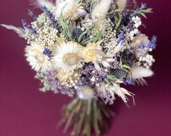 Dry flower bridal bouquet/Rustic wedding bouquet/Dried thistle buttonhole