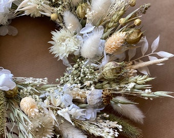 Dry flower wreath/Beige wreath/New home gift/House warming gift