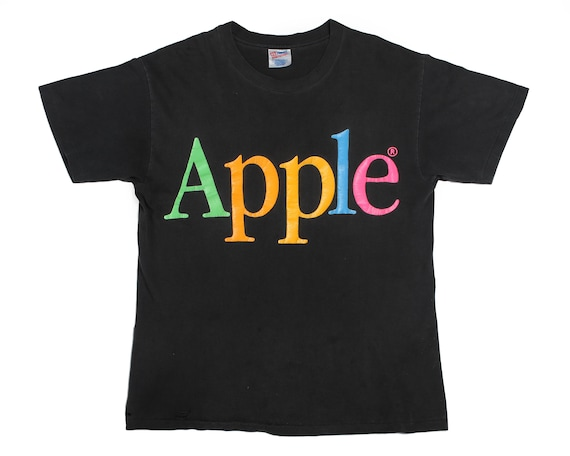 Vintage Apple T Shirt 1980s Rainbow Mac Computers