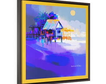 Bahay Kubo series. Square Framed Premium Gallery Wrap Canvas