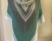 Hand knit woman s triangle shoulder scarf wrap oversized lightweight. Made in USA free shipping