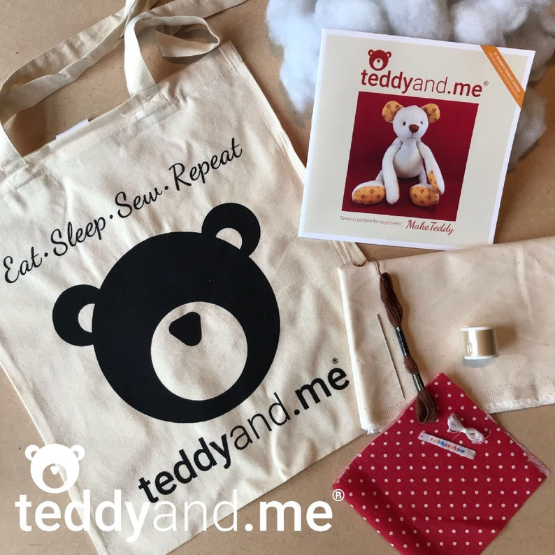 Make Spotty Teddy sewing KIT and pattern  Everything you need image 0