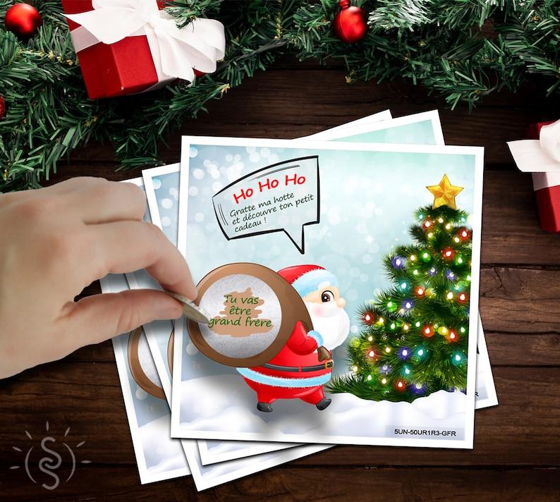 Ticket à gratter pour annoncer sa grossesse à Noël - Créatrice ETSY : SunSourire
