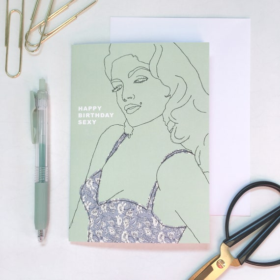 Sexy Birthday Card | Line Drawing | Celebrate Women | Feminist Birthday | Contemporary Embroidery