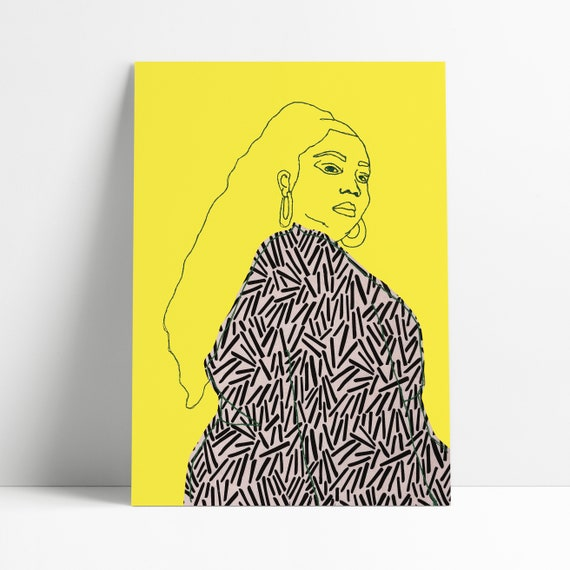 Lizzo Art Print | Bright Yellow | Embroidered Art | Line Drawing