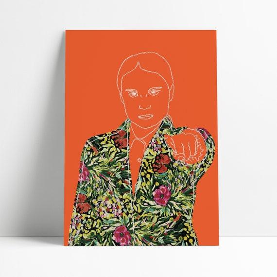 Greta Thunberg Art Print | A5 or A4 | Bright Orange | Embroidered Art | Plants Fabric