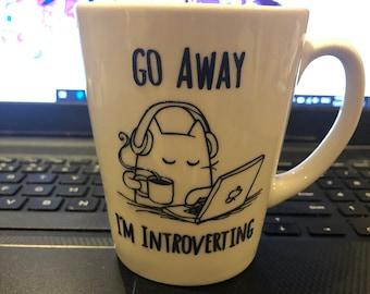 Go Away I'm Introverting - Cat Coffee Mug